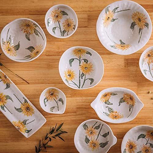 YGB Vajilla de Alta Gama, vajilla de cerámica, vajilla Hecha a Mano Serie 28 Piezas vajilla combinada de gres |Cuencos de Cereales Retro con patrón de Girasol/Platos de Carne para Regalos de Boda