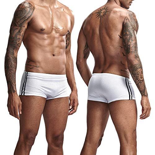AIMPACT Swimming Trunks for Men Sexy Swimming Shorts Mens Training Suit Briefs Bikini(WhiteXL)