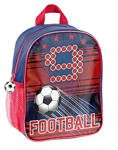 Fussball Soccer Kindergartenrucksack Kinderrucksack für Jungen und Mädchen (19FT) mit Hauptfach und Getränkenetz, 28x22x10 cm, rot/blau