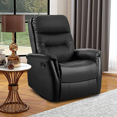 Recliner Armchair Sofa Leather Lounge, 360° Swivel Luxury Cinema Rocking Chair for Home/Living Room/Theater, 87 (W) x 75cm(D) x x 110cm(H)(Black)