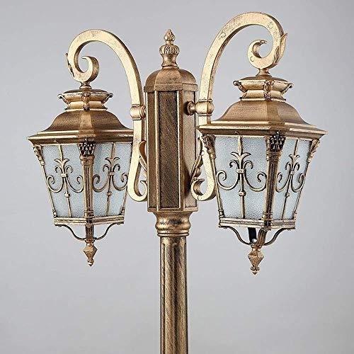 Lámpara de pie para césped, luz de jardín para Exteriores, Antigua, Europea, de Doble Cabeza, Farol de Vidrio para Calle, lámpara hacia Abajo para jardín, Patio, Patio, lámpara de Columna de