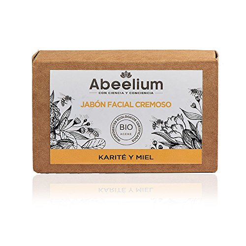 Abeelium | Jabon Facial Cremoso Karité y Miel | Limpia e hidrata en profundidad - Producto Natural y Ecológico | Hecho en España - 100 grs