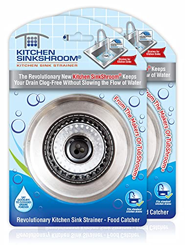 SinkShroom Revolutionary Clog-Free Sink Strainer Basket, 2-Pack, Stainless Steel, 2 Pack
