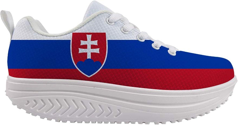 Owaheson Swing Platform Toning Fitness Casual Walking shoes Wedge Sneaker Women Slovakia Flag