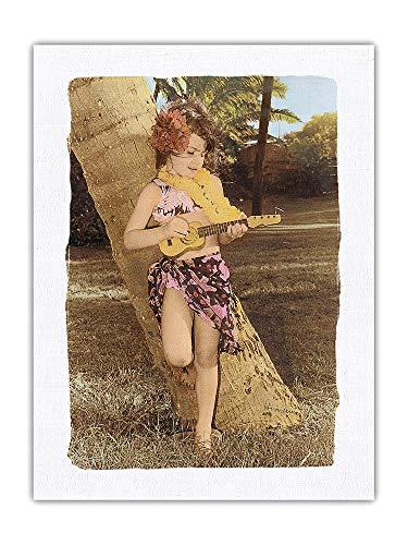 Pacifica Island Art Himani - Ukelele Girl (Keiki) Juega el ukelele, a partir de una fotografía original a mano a color 100% seda pura Dupioni, impresión en tela de 61 x 81 cm