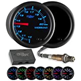 GlowShift Tinted 7 Color Analog Needle Wideband Air / Fuel Ratio AFR Gauge - Includes Oxygen Sensor, Data Logging Output & Weld-in Bung - Black Dial - Smoked Lens - 2-1/16' 52mm