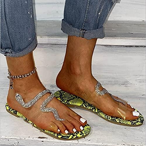 YIYUNKJ Sansals de Mujer, Exquisito Diamantes de imitación Antideslizante, Asalto cómodo, Flip Flop, Punta Abierta, Sandalias Planas, Primavera, Zapatos para Caminar de Verano para la