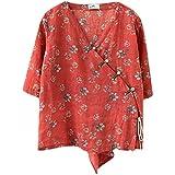 SADWQ Estilo Tradicional Chino Vintage Hanfu Top Top Ropa Oriental Mujer Blusa de Lino