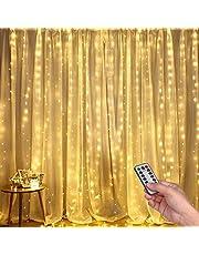 DazSpirit Led-lichtgordijn, USB-lichtkettinggordijn met 8 lichtmodellen voor Kerstmis, feestdecoratie, slaapkamer, binnenverlichting, warmwit, energieklasse A+