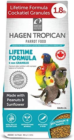 Hagen Tropican Bird Food, HARI Parrot Food with Peanuts & Sunflower Seeds, Lifetime Formula