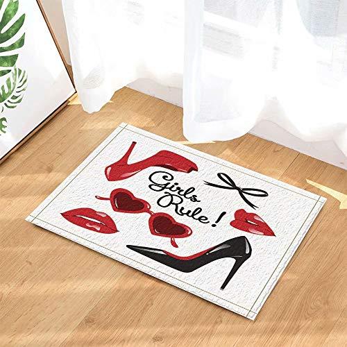 Moda mujer Maquillaje decoración Vector zapatos de tacón alto con labios rojos Alfombras de baño antideslizantes Felpudo Piso Entradas Puerta de entrada interior Alfombra de baño para niños 50