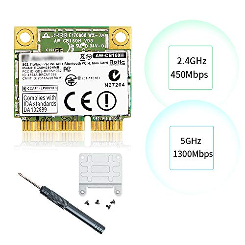 REKONG macOS Continuity WiFi Upgrade 1.3Gbps AC BCM94360HMB Faster Than The Wired NIC AW-CB160H 1300Mbps 802.11ac Bluetooth 4.0 2.4Ghz 5Ghz Network Card Half Mini pcie Airdrop Handoff Card