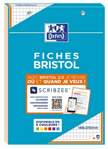 OXFORD Bloc de FICHES BRISTOL 2.0 Perforées 148x210mm Petits Carreaux 5x5mm 30 Fiches Cadre Orange