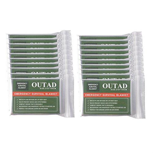 002fr OUTAD 20 Stück wasserdichte Notfall-Überlebensdecke für den Außenbereich Erste Hilfe Silber