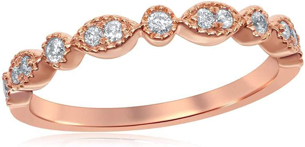 14K Rose Gold Womens Round Milgrain Ring Stackable Tampa Mall Diamond Band Max 54% OFF