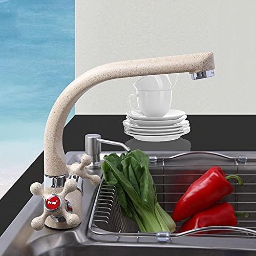 LOPIXUO Grifo de Cocina Multicolor Pintura en Aerosol Grifo de Lavabo de Cocina Un Orificio Diseño Moderno Dos manijas Grifo de Agua fría y Caliente, F5408 10 Beige