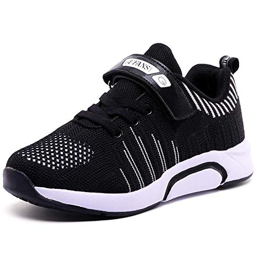 GUFANSI Turnschuhe Jungen 32 Sportschuhe Kinder Laufschuhe Mädchen Hallenschuhe Leicht Atmungsaktiv Outdoor Fitnessschuhe Sneaker Schwarz Kinderschuhe für Laufen Schuhe Unisex-Kinder