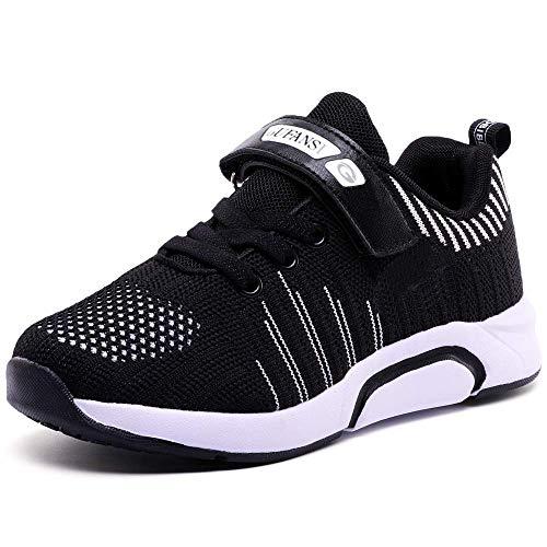 GUFANSI Turnschuhe Jungen 26 Sportschuhe Kinder Laufschuhe Mädchen Hallenschuhe Leicht Atmungsaktiv Outdoor Fitnessschuhe Sneaker Schwarz Kinderschuhe für Laufen Schuhe Unisex-Kinder