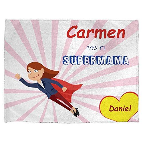 LolaPix Manta Cálida Personalizada Supermamá. Personalizada con Nombre. Varios tamaños y diseños de Manta Disponibles, Original y Exclusivo para Mamá. Día de la Madre.