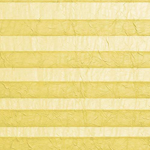 casa pura® Plissee Rollo   mit eleganter Crushed Optik   Klemmfix ohne Bohren   lichtdurchlässig & blickdicht   gelb   8 Größen (55x200cm) - 4