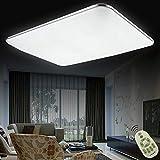 Regulable LED 72W lámpara de techo moderna LED luz de techo Cuadrado delgada 5760lm Plata para Dormitorio Cocina Sala de estar Comedor Balcón Pasillo [Clase de eficiencia energética A++]