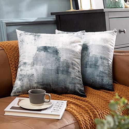 MIULEE Fundas de cojín para sofá Gamuza Sintética Almohada Caso de Diseño Geométrico Decorativas Fundas Cojines Amarillo limón&Gris 45x45 cm 18X18 2 Piezas Pinta Gris