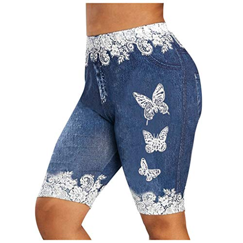 UOFOCO Women Lace Jeggings Butterfly Printed Compression Workout Yoga Shorts - Not Jeans (Medium,Navy)