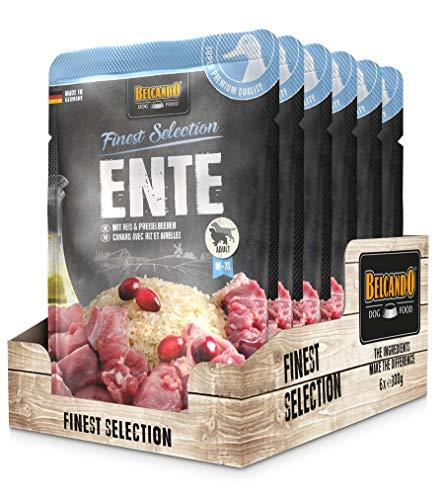 Belcando Frischebeutel [6x300g Ente mit Reis & Preiselbeeren] | Nassfutter für Hunde | Feuchtfutter Alleinfutter im Einzelportionsbeutel