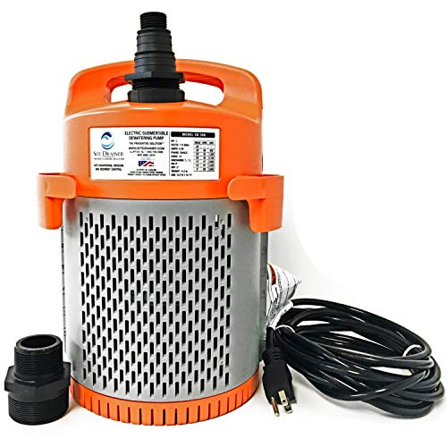 Site Drainer SD300 1/2-HP Submersible Non Clogging Electric Dewatering...