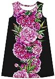 Ocean Plus Niña Vestido Floral Redondo Vestido Recto Vintage Sin Mangas de Arco Iris Tops de Impresión Digital (M (Altura: 135-140 cm), Arbusto de Flores Rosadas)
