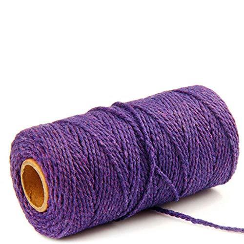 LLAAIT 100 m de Long / 100 Verges Pur Coton Corde torsadée Corde Artisanat macramé Artisanal chaîne Multicolore Coton Lin Corde Textiles de Maison Nouveau, Violet, États-Unis