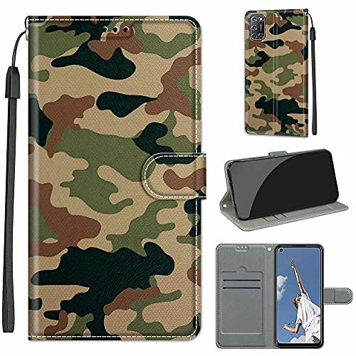 GARITANE Funda Compatible con Samsung Galaxy/J6 Prime/J6 Plus/J6+,Cartera Cuero con Iman Cierre Tarjetero Libro Bum Shell Cover Carcasa Flip Case (Camuflaje)