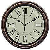 HOSTON Reloj Pared Grande silencioso Reloj de Pared Moderno Decoracion,Vintage números Romanos Los Relojes de Cuarzo se utilizan en la Cocina, Sala de Estar, Oficina, Dormitorio. (30cm Color Vintage)