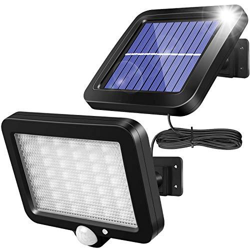 56 LED Lampade solari per esterni, solawill Luce Solare LED Esterno con sensore di movimento,IP65 Impermeabile,Angolo di illuminazione di 120°,3 Modalità,lampada solare da parete per giardino con cavo