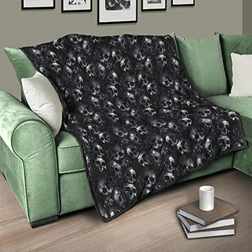 Flowerhome Totenkopf Schädel Tagesdecke Steppdecke Bettdecke Bettüberwurf Sofadecke Couchdecke Schlafdecke Winterdecke für Erwachsene Kinder White 200x230cm