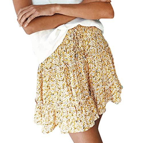 Damen Rock Sommer Blumen Kurze Minirock Hohe Taille Gekräuselten Loose Hosen Shorts Röcke Strand Boho Druck Kurzen Rock Mini Röcke 8 Farbiger-5 Größe-Blumenrock (M, Gold)