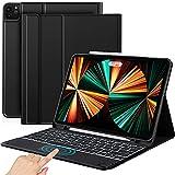 Sross Funda con Teclado Compatible con Nuevo iPad Pro 12.9 2021 2020, iPad Pro 12.9 Pulgada Teclado con Touchpad, English QWERTY,Negro
