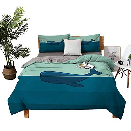 Four-Piece Bedding Lannel Bed Sheets Queen Flat Sheet Big Blue Whale Half of it Swimming on The top of Ocean Sea Life Image Pale Blue and Dark Blue high Density Weaving Process W80 xL90