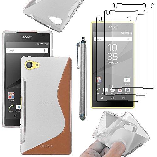 ebestStar - Funda Compatible con Sony Xperia Z5 Compact Carcasa Gel Silicona Gel TPU Motivo S-línea, S-Line Case Cover + Lápiz +3 Peliculas, Transparente [Aparato: 127 x 65 x 8.9mm, 4.6'']