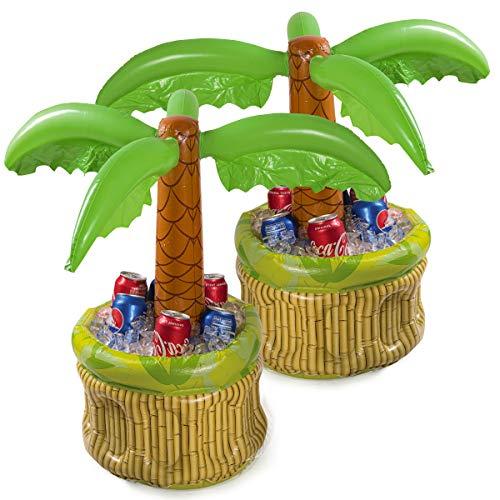 2 Pack 26 Zoll Aufblasbarer Kühler, Bierkühler für Partys, Luau Party Supplies für Erwachsene, Sommerparty Dekorationen, Aufblasbare Palme für Strand Pool Parteien, 2 Stück