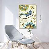 ganlanshu Pintura Decorativa salón sofá cabecero Moderno Pared Pintada Flores y pájaros,Pintura sin Marco,60X90cm