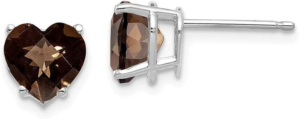 14k White Gold 7mm Heart Checker Cut Smoky Quartz Post Stud Earrings Birthstone November Gemstone Fine Jewelry For Women Gifts For Her