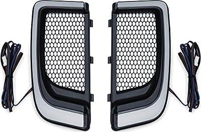Kuryakyn 5064 Motorcycle Lighting Accessory: Tracer LED Running Light/Turn Signal Fairing Lower Grills for 2014-20 Harley-Davidson Motorcycles, Satin Black, 1 Pair