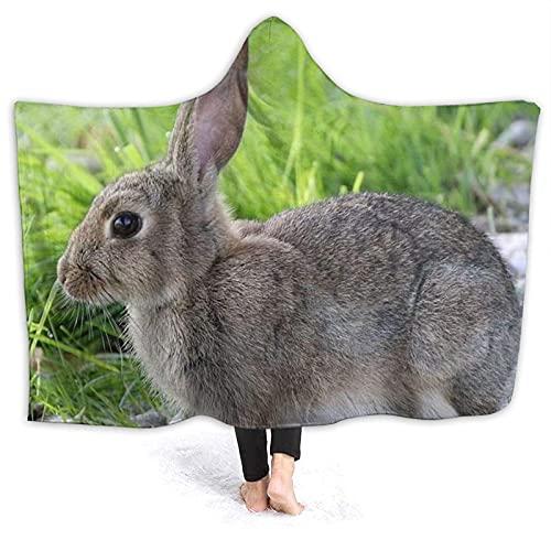 Manta con capucha – Lindo conejo de liebre gris con capucha, manta de forro polar, súper suave y cálida manta de 152 x 127 cm