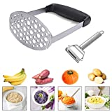 RosewineC Masher Ricer,Stainless Steel Masher Ricer with Soft Handle,Baby Food Fruit Vegetable Masher Ricer, Potato Ricer Masher,12 × 7 × 17 cm