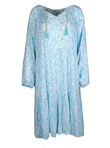 Zwillingsherz Sommerkleid im Paisley Design – Hochwertiges Abendkleid für Damen Frauen Mädchen - Freizeitkleid Cocktailkleid Strandkleid - Locker luftig – Perfekt für Frühling Sommer Herbst - türki