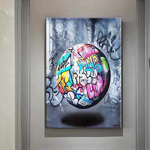 wZUN Pintura de la Lona Bola de Graffiti Arte Cartel Abstracto Lienzo Impresiones de la Pared Pintura Estilo Graffiti imágenes habitación decoración del hogar 60x80 Sin Marco