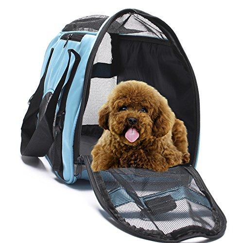 Display4top Transporttasche für Katzen Hunde Comfort Fluggesellschaft zugelassen Travel Tote Weiche Seiten Tasche für Haustiere (43 cm x 20 cm x 28 cm)