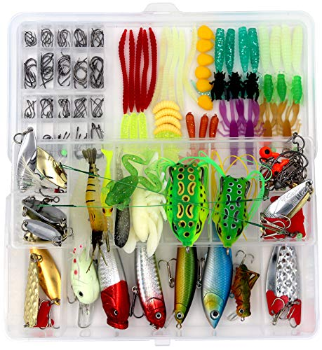Saltwater Fishing Lures Kit Set for Bass, Including Crankbaits, Soft Plastic Worms, Topwater Frog Lures, Fishing Gear Equipment with Free Tackle Box (234pcs)