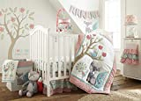 Levtex Baby - Fiona Crib Bed Set - Baby Nursery Set - Pink, Teal, White - Woodland Forest Theme - 5 Piece Set Includes Quilt, Fitted Sheet, Diaper Stacker, Wall Decal & Crib Skirt/Dust Ruffle